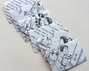 Upcycled Book Page Envelopes, Junk Journal Envelopes, Recycled Children's Vintage Book, 6 Mini Envelopes, Journal Ephemera, Lunchbox Notes