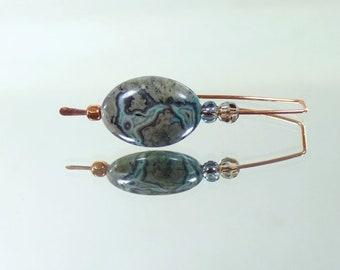Copper earrings, Jasper earrings, Gray earrings, Pretty earrings, Small earrings