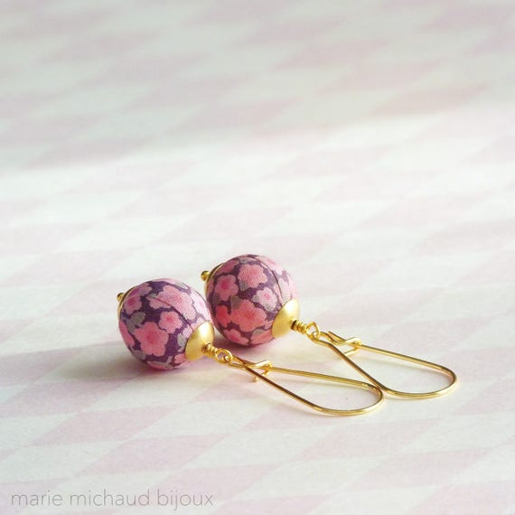 Liberty earrings,Cute earrings,Colorful earrings,Pink earrings,Flower earrings,Liberty jewelry,Spring trends,Gift under 30, Small gift