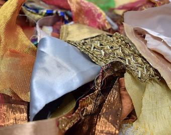 100/200g Bohemian Boho Metallic Trimmings Fabric Scrap Packs