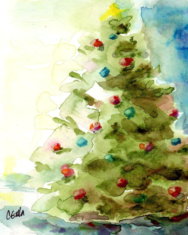 Christmas Tree Holiday Print from Original Watercolor 8 x 10