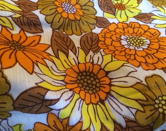 Vintage Orange and Yellow Curtain Fabric,Vintage Fabrics ,retro furnishing fabric