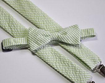 Lime Green Seersucker Bowtie and Suspender Set for Men