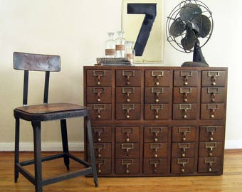 Vintage Library Card Catalog, 30 Drawers, 1970's