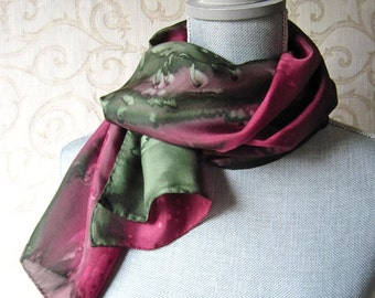 Silk Scarf Hand Painted in Olive and Burgundy