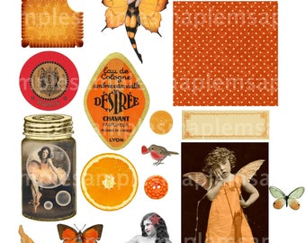 Ephemera Digital Collage Sheet, Pretty in Orange Images Instant Download vintage ephemera
