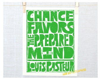 Back to School, Dorm Decor, Chance Favors the Prepared Mind, Pasteur, Typography, Inspirational Sign