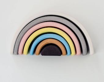 Stacking toy | Rainbow toy | Pastel stacker| Wooden rainbow | Montessori | Waldorf toy | Educational toys | Kids room decor | Wood toys