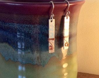 Aluminum and copper earrings
