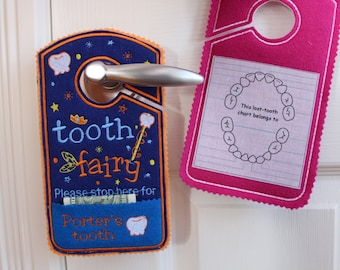 Tooth fairy Door hanger with tooth chart, pillow alternative, tooth fairy please stop here, personalized tooth hanger TF2