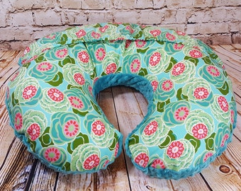 Boppy Cover Amy Butler Dream Weaver Water Lilies Teal Minky Easy On/Off