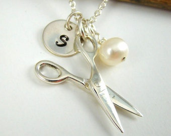 Gift Hair Stylist Gift, Cosmetologist Gift , Initial Scissor Charm Necklace, Scissors, Sew, Sewing, Cutting, Hair Dresser