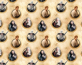 CAMELOT The Hobbit &  Lord of the Rings Characters in Circles -  Hobbits 100% cotton Fabric by the yard ( CA615)