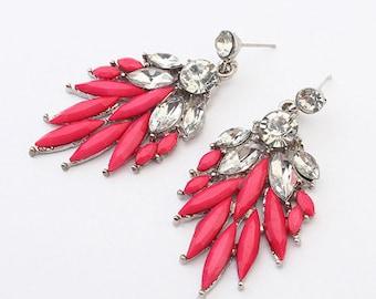 Hot Pink Statement Earrings