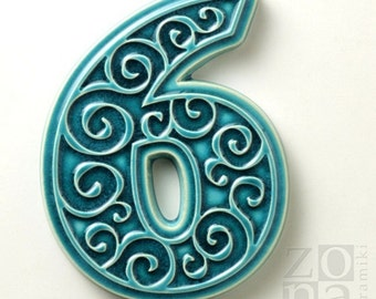 ceramic house number 6 , turquoise