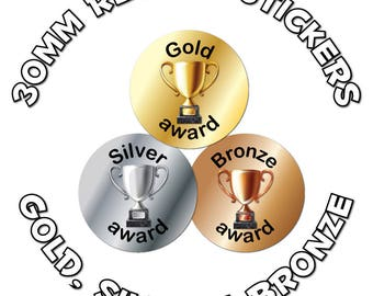 Gold, Silver & Bronze - 30mm Children Reward Stickers - For School Teachers, Sports Day and Competitions