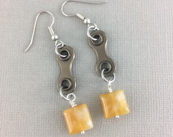 Yellow jade bike earrings, bicycle jewelry, cycling accessories, dangle bicycle earrings, mtb gifts, fixie jewelry, bmx accessories