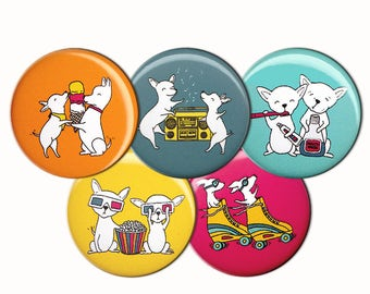 Chihuahua Buddies Pin Set of 5 One Inch Pinback Buttons