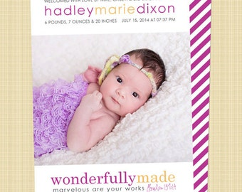 Christian photo birth announcement - wonderfully made psalm 139:14 - Digital