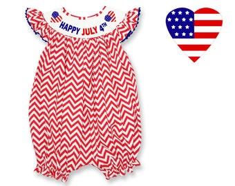 Dana Kids Red Happy July 4th Hearts Chevron Smocked Romper Baby Girl 6M-24M