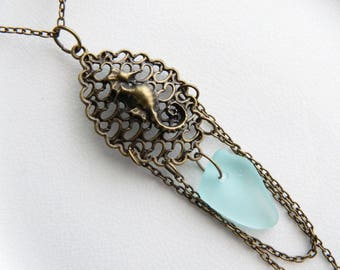 Genuine Aqua Blue Sea Glass Necklace - Surf Tumbled Seaglass & Antique Brass Seahorse Pendant - Victorian Style Jewelry