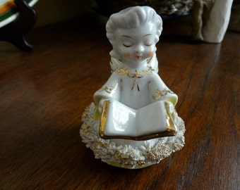Precious Angel Figurine with Book - ACME Made in Japan - Tinsel-like Trim to Her Robe