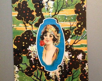 Art Deco Lithographed Candy Box Paper: Flapper Girl