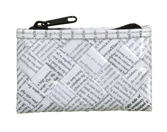 Zip coin purse using office document paper - FREE SHIPPING - eco-friendly makeup bag, sustainable purse, vegan wallet