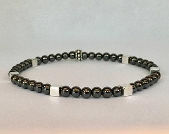 Men's hematite bracelet with bali sterling silver