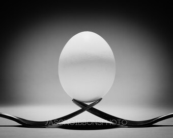 Fork Egg Photography, Abstract, Wall Art, Home Decor, Kitchen Decor, Dining Room Decor, Egg Fork Photography
