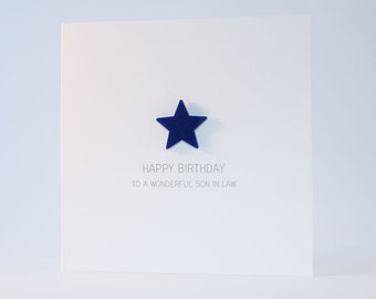 Happy Birthday Son in Law Card with Navy Blue detachable magnet keepsake