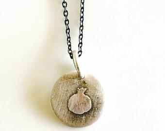 Pomegranate Necklace- Sterling Silver Pomegranate Necklace- OOAK