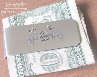 Personalized Money Clip Wallet for Men, Bear Money Clip, Money Clip Anniversary Gifts, Money Clip for Father of the Bride