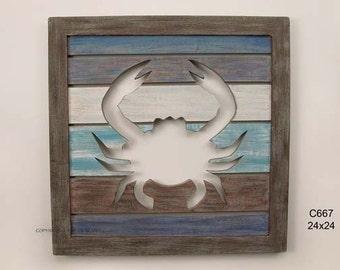 Cutout Slatwood Crab Panel - C667