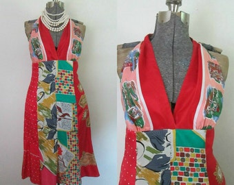 Silk Scarf Halter Dress Laundry Shelli Segal Multicolored Patchwork Handkerchief Size 6