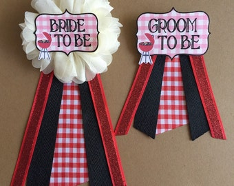 I Do BBQ Bride To Be Groom to be Flower Ribbon Pin Corsage Glitter Rhinestone groom to be newlyweds bridal shower