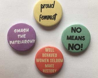Set of 4 Feminist Button Badges Political Feminism Pins