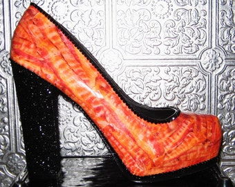 bacon heels/bacon shoes/ shoes with bacon/ glittered heels/ custom heels/ bacon and glitter heels/ bacon accessory/ bacon lover accessory