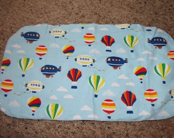 Hot Air Balloon Burp Cloth with Minky Clouds Blimp Blue Sky