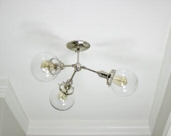 Modern Chandelier Polished Nickel 3 Globe Sputnik Mid Century Semi Flush Edison Industrial Hanging Light Lighting