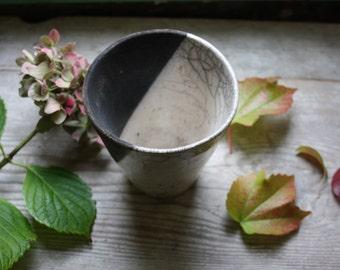 White and black raku ceramic round vase handmade - raku ceramics - raku pottery