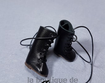 Black leather boots for Blythe doll-black leather boot for Blythe