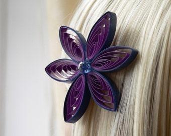Purple Wedding Hair Flower Accessories, Navy and Purple Wedding, Purple Wedding Hair Clip