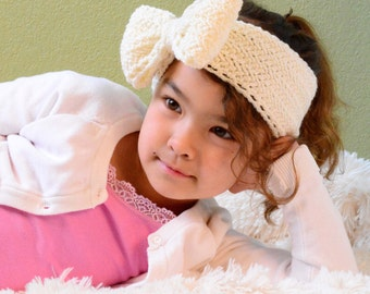 CROCHET PATTERN - Hello Dolly Headwrap - crochet headband pattern with bow in 5 sizes (Babies, Toddler, Child, Adult) - Instant PDF Download