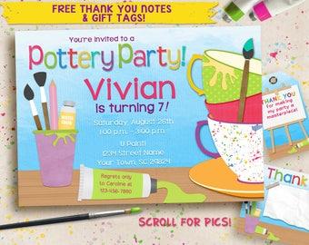 Pottery Party Invitation / Art Party Invitation / Printable Digital invitation