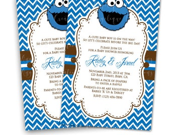 Sesame Street, Cookie Monster Baby Shower Invitations & Blank Digital Thank You Card to match