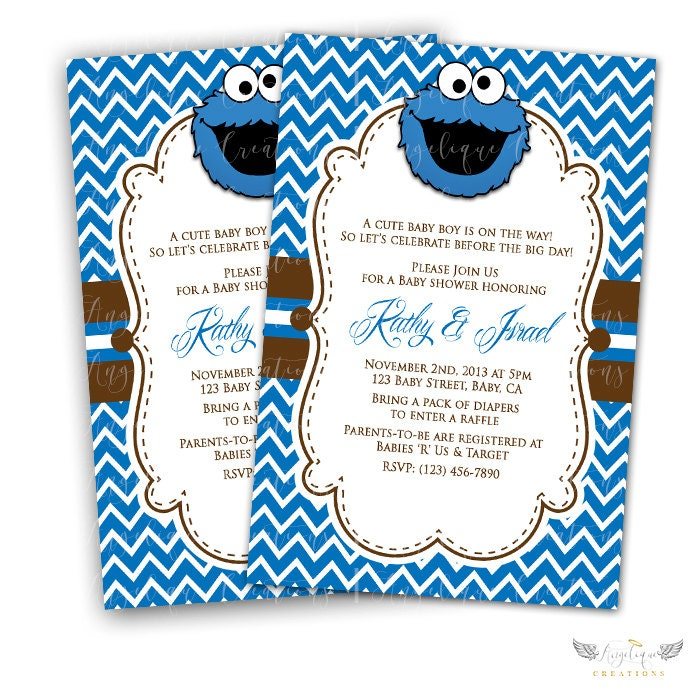 Sesame Street Cookie Monster Baby Shower Invitations & Blank