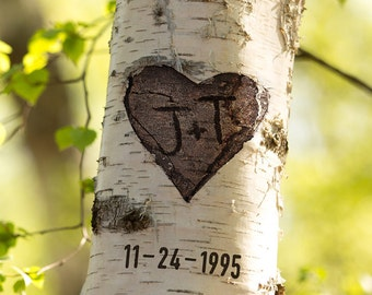 Custom Birch Tree Photo Print, FINISHED PHOTO, Your Initials Carved Into Heart, Wedding Gift, Engagement Gift, Valentine Gift, date optional