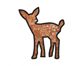 INSTANT DOWNLOAD Double Pack Fawn Silhouette Includes BOTH Applique and Filled Stitch