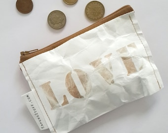 light gold wallet, mothers day, gift for mother, fashion accessories, eco-friendly gift, zipper coin purse, one off item, washable paper